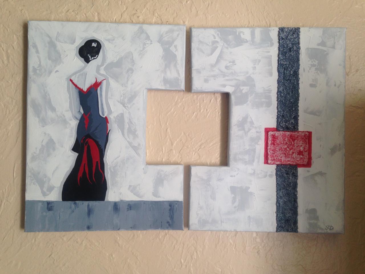 """""""Elégance"""" peinture acrylique sur toile 40 x 60 diptyque"""